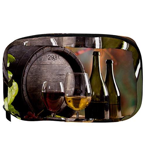 Bolsas de cosméticos para botellas de vino en viñedo, práctica bolsa de viaje Oragniser bolsa de maquillaje para mujeres y niñas
