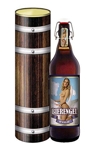 Bier Engel - Bier 1 Liter Flasche mit Bügelverschluss in der Geschenkdose im Holzdesign