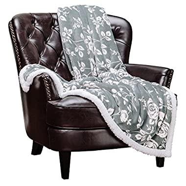 Chanasya Elegant Rose Soft Fleece Reversible Sherpa Throw Blanket - Cozy Classy Chick Elegant Floral Print Velvet Plush Blanket for Bedroom Living Room Couch Bed Sofa - 50 x65  - Iron Silver