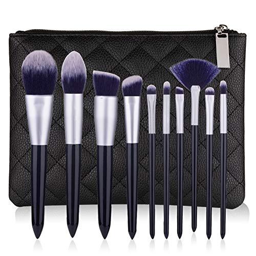 Fibre De Laine Maquillage Brush Set 10 Pcs Visage Modification Outil De Beauté Avec Ombre À Paupières Fard À Joues Contour Brosse,2