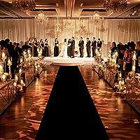 Healon ウェディング装飾 アイルランナー 結婚式 クリスマス 感謝祭 アウトドア アクセサリー ウェディングパーティーラグ 100 x 3フィート ブラック