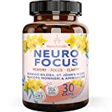 Brain Booster Supplement Nootropics - Neuro Focus for Brain Health, Memory, Clarity, Focus, Stress Relief with Gingko Biloba, Bacopa Monnieri, St. Johns Wort - 30 Brain Food Capsules