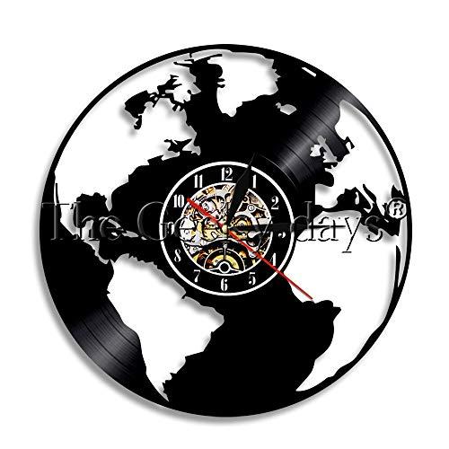 shiyueNB 1 Pieza de Mapa del Mundo Viajar Alrededor del Mundo Silueta Disco de Vinilo Reloj de Pared decoración del hogar Arte de la Pared Reloj Creativo Tiempo Reloj de Pared