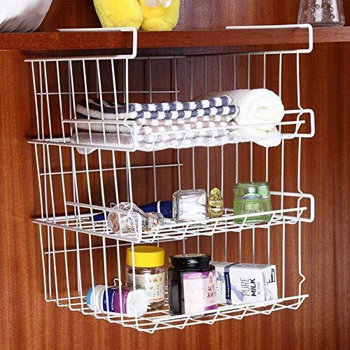 3 Layer Stackable Removable Undershelf Storage Hanging Basket - Multifunctional Organizer Rack for Kitchen Bathroom Cabinet Pantry Cupboard Drawer Fridge Wardrobe