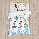 Nongmei Juego de Cama de poliéster, Set of Various Poses of Santa Claus Costume Dad_Travel Juego de 3 Piezas, Funda nórdica Suave, Tela de algodón a Juego, Juego de Dos Camas Individuales,