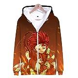 Fleyel Unisexe Sudadera con Capucha, Ghost Blade Zipper Sweatshirt Jackets 3D Imprimer Hoodies Hoodie Manga Larga Hoodie Casual Camisa de Entrenamiento Abrigo de Sudadera