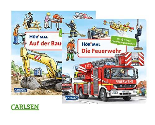 Carlsen Verlag HÖR MAL: Die Feuerwehr + Auf der Baustelle, Pappbücher-Set mit Geräuschen