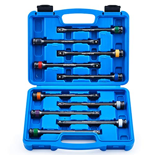 """10pc 1/2"""" Drive Torque Limiting Extension Bar Set, Torque Extension Tool Set with 8 Inch 65-150 ft.-lb. Torque Sticks for Safely Locking Lug Nuts, Impact Torque Limiter Set"""