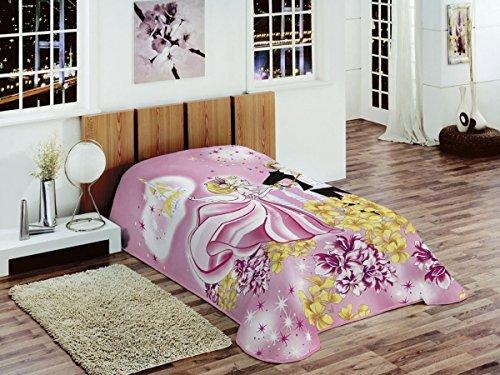 Traum Decke Kinderdecke Spieldecke Kuscheldecke Wohndecke Prinzessin Rosa Pink Gelb Weiß Größe 155x215 cm