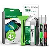 Giga Fixxoo Repuesto de Batería iPhone - Batería Akku Apto iPhone 4s - Kit Reparación Teléfonos Móviles con Batería Original de Iones de Litio, Herramientas, Destornillador, Pegatinas Adhesivas