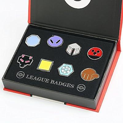 Katara - Pokémon insignia - Cajas con 8 medallas de gimnasio, de generaciónes de Kanto, Johto, Teselia o Kalos de Katara