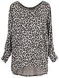 Emma & Giovanni - Jersey - Camiseta holgada Mit Druck- Damen (M, Beige Leopard)