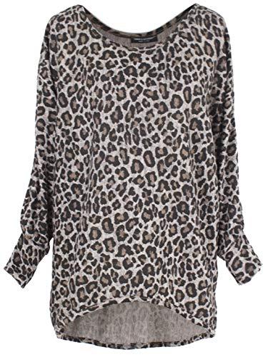 Emma & Giovanni - Pullover - T-Shirt Loose Fit Mit Druck- Damen (M, Beige Leopard)