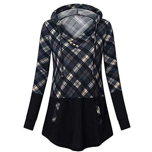 YWLINK Damen Lange ÄRmel Plaid Kordelzug V Ausschnitt Pullover Mit Kapuze Lose Lange Hoodie Sweatshirt Blusenoberteile(XXL,Grau)