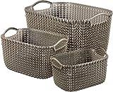 Curver 240650 - Set de 3 cestas Knit, tamaños L de 19 litros, S de 8 litros y XS de 3 litros, color marrón