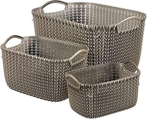 CURVER | 3 panières de rangement rectangulaire KNIT (L+S+XS), Aspect tricot, Marron foncé, Plastique