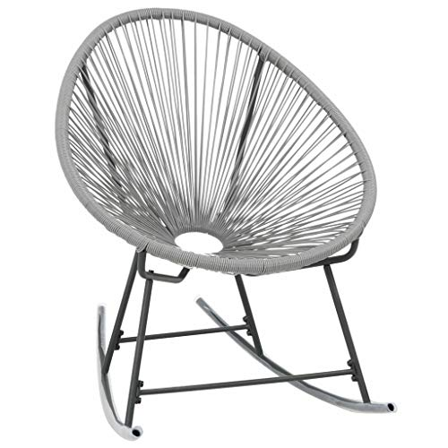mewmewcat Rocking Garden Moon Chair Modern Furniture Outdoor Decor Poly Rattan 72.5 x 77 x 90 cm Steel Frame Grey