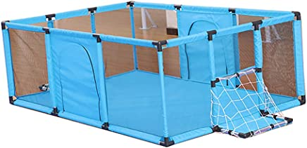 LXDDP Playpen Blue Baby Playpen with Football Goal  Safety Toddlers Playard  Folding Child Room Divider Play Pen  120 180 62cm