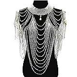 Cadena de hombro con diseño de borla de chal hecho a mano, collar de perlas y cadena de cuerpo para mujer (Metal Color: Blanco)