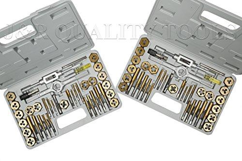 Vector Tools Juego de grifo y troquel, premium, SAE y métrico, con revestimiento de titanio, 80 piezas