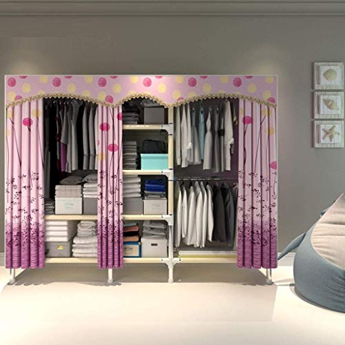 wardrobe- Simple cloth, Steel pipe is thickened/reinforced, Simple modern steel frame double cabinet, Economy, portable clothes rack FANJIANI (Color : B)