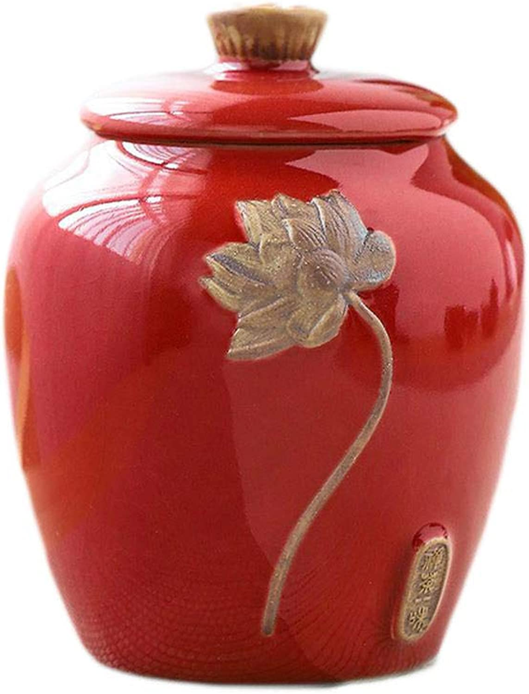Pet urn Ceramic Portable Mini Storage Sealed Souvenir Red