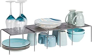 mDesign Juego de 3 estanterías metálicas para armarios de cocina – Práctica estantería de cocina para crear más espacio de almacenaje – Baldas de cocina extensibles de metal – gris