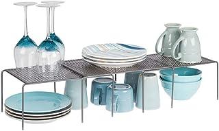 mDesign étagère de cuisine (lot de 3) – égouttoir pratique en métal pour plus d'espace de rangement – étagère cuisine téle...
