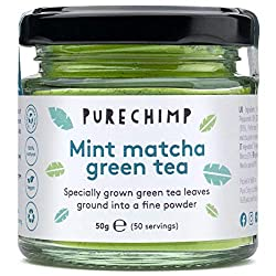 90% Ceremonial Matcha, 10% Fresh Mint - It's all-natural, as always with PureChimp products Gently dried and slow ground to retain maximum flavour and nutrition - A delicate green tea flavour with a hint of fresh mint Can help to improve your mood, m...