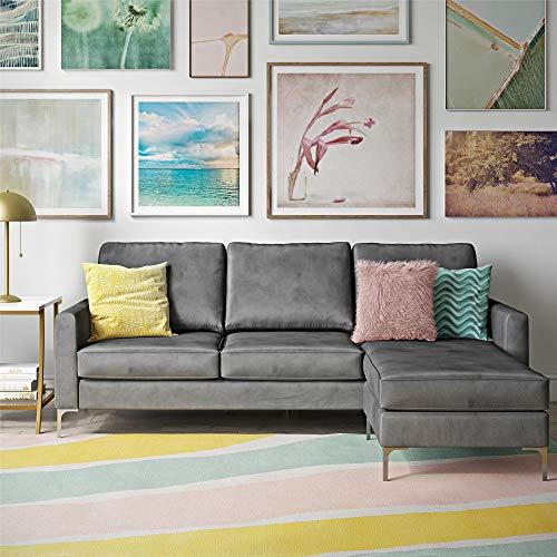 Novogratz Chapman Chrome Legs, Gray L-Shaped Sectional Sofa,