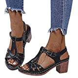 WellingA Sandalias CuñA para Mujer, Sandalias Playa Verano Moda Casual, Alpargatas, Sandalias CuñA De Plataforma para Mujer, Zapatos Verano,Negro,36