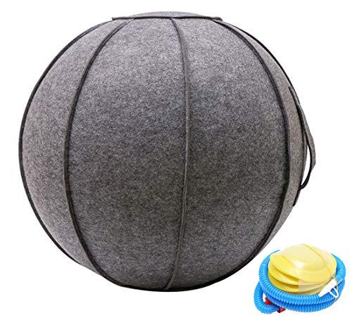 SOKLIT Yoga Ball Schwangerschaft Sitzball Ø 65cm Stuhl Ergonomisches Sitzmöbel für Büro mit Griff und Abdeckung, Anti-Burst Gymnastikbälle mit Pumpe