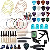 Qukpa 66 PCS Guitar Accessories Kit for Acoustic Guitar Including Strings Tuner Pick Holder Picks Bone Bridge Nuts and Saddles Pin Capo Restring Tools