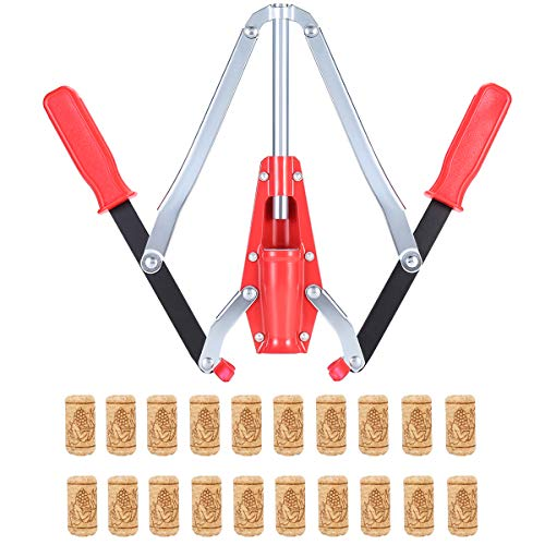 Wine Bottle Double Lever Hand Corker, For Standard Wine, Belgian Beer, and Synthetic Plastic Corks, with 20 Count Wine Corks