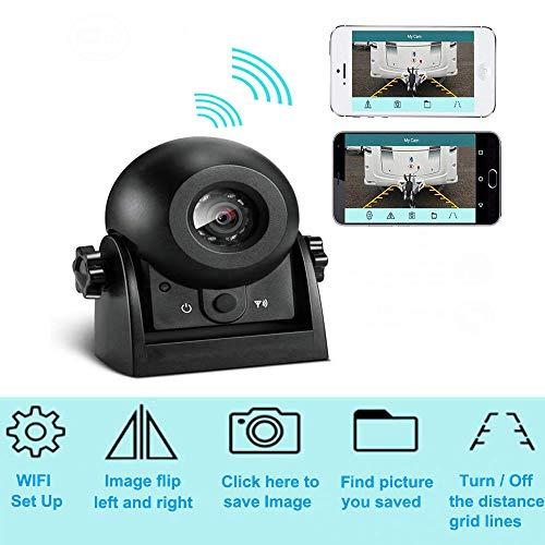 Caméra de recul Vue arrière de voitur Caméra WIFI Magnétique Etanche IP68 Caméra de recul avec Smart APP pour iPhone et Android, Vision de Nuit Marche arrière Caméra pour voiture, VUS, Van, Remorque