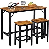 """SUPERJARE Bar Table Set with 2 Bar Stools, 35.6"""" Pub Dining Height Table Set, 3 Pieces Kitchen Counter Set, Vintage Industrial Furniture for Living Room - Rustic Brown"""