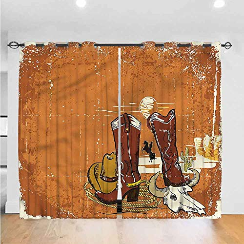 "AbstractBedroom curtains living room curtains kitchen curtains office curtains Insulated grommet blackout curtain Cowboy Shoes Rope and Hat The best choice for bedroom and living room W84"" x L84"""