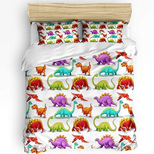 HARXISE Lindo Juego de Funda de edredón con diseño de Animal de Dinosaurio, 3 Piezas para Dormitorio, Funda nórdica para Todas Las Estaciones y 2 Juegos de Cama para niños Adultos
