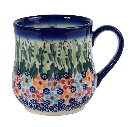 Tradycyjna polska ceramika, ręcznie wykonany ceramiczny kubek w kształcie kropli (350 ml/12,3 uncji), wzór w stylu bolesławskim, Q.102.DAISY