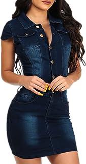962fd0edc8a78e Foluton Damen Jeans Minikleid Sommerkleider Ärmellos Bodycon Bleistiftrock  Partykleid Tunika Hemd Blusenkleid Jeanskleid Clubwear Cocktailkleid mit
