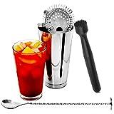 bar @ drinkstuff Set di accessori per cocktail: shaker Boston, cucchiaio intrecciato, pestello e scolapasta