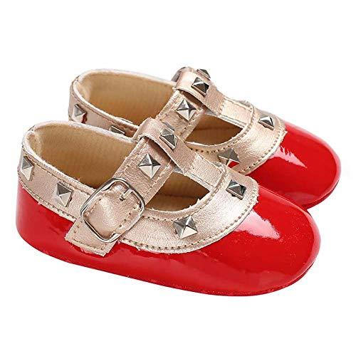 Demarkt - Zapatos de princesa para bebé y niña, bonitos remaches, suela suave, antideslizantes, para verano rojo 11 cm