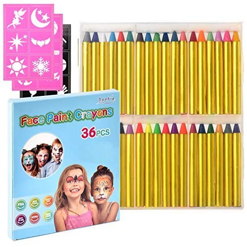 Face Paint Crayons for Kids, 36 Jumbo 3' Face & Body Painting Makeup Crayons, Safe for Sensitive Skin, 12 Metallic & 24 Classic Colors, Painting Crayons Stick for Halloween Party Favors Birthday