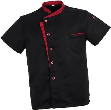 Baoblaze Camisa Mezclilla Unisex Chef Chaqueta Arrugas Resistente Confortable Mangas Cortas Camiseta Cocina Uniforme Emocionante