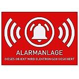 6 x Aufkleber Alarmgesichert (Klein - 5 x 3,5cm) - Schutz vor Einbruch in Auto und Wohnmobil - Aussenklebend - Alarm Sticker für mehr Sicherheit - Alarmanlage Aufkleber für außen -...