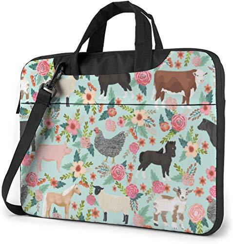 Farm Animals Cow Sheep Goat Chick Anti-Collision Laptop Case Sleeve Laptop Shoulder Bag Laptop Messenger Bag