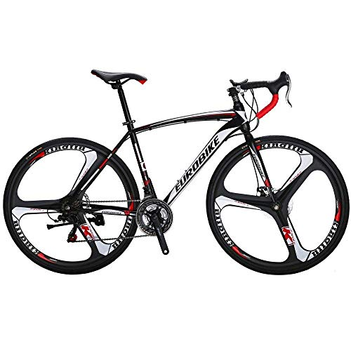 Extrbici Road Bicycle Racing Bike Specialized Bike 3 Spoke Wheels 21 Speeds,XC550 700Cx28C 54CM Solid Integrated Wheel Curved Handlebar Double Disc Brakes Cycling US Warehouse