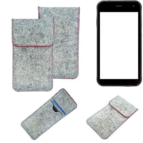 K-S-Trade® Handy Schutz Hülle Für Cyrus CS 22 Schutzhülle Handyhülle Filztasche Pouch Tasche Hülle Sleeve Filzhülle Hellgrau Roter Rand