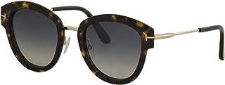 Tom Ford FT0574 52P Dark Havana Mia Round Sunglasses Lens Category 2 Size 52mm