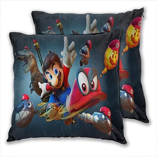 anzonto Juego de 2 fundas de almohada para cama Mario bros juegos